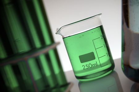 milliliters: beaker with two hundred and fifty milliliters green liquid Stock Photo