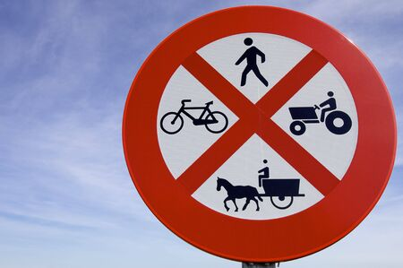 traction: forbidden to drive farm vehicles, people, motorcycles and animal traction Stock Photo