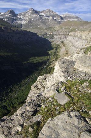 ordesa: view of the valley of Ordesa and Monte Perdido massif, Pyrenees, Spain