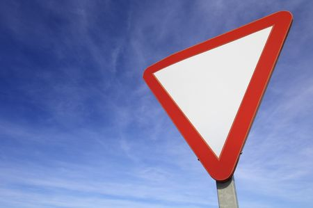 European signal give way to blue sky Stock Photo - 6852914