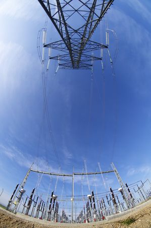 substation: High tension electrical tower and high-voltage substation