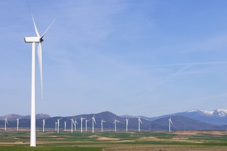 group of windmills in a green meadows Stock Photo - 6853086