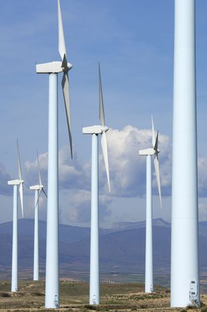 blue windmills group in a mountainous area Stock Photo - 6919186