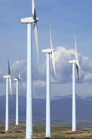 blue windmills group in a mountainous area Stock Photo - 6919189