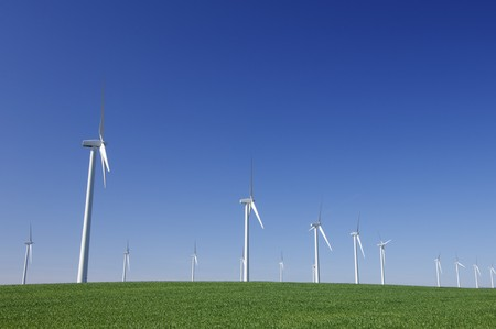 aligned windmills in an idyllic green meadows and clear sky photo