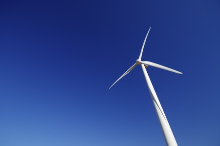 lonely modern windmill with blue and clear sky Stock Photo - 6919332