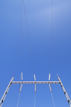 detailed electrical wiring in a substation with a clear blue sky Stock Photo - 6994988