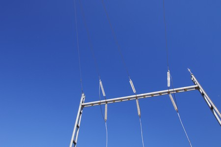 detailed electrical wiring in a substation with a clear blue sky Stock Photo - 6994992