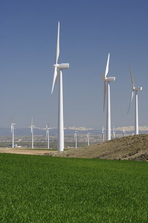 group of aligned windmills in Spain Stock Photo - 6995016