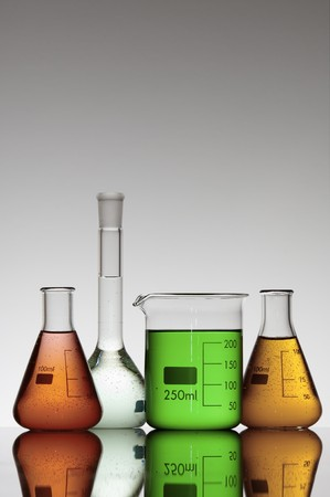 scientifical: group of four flasks containing colored liquid