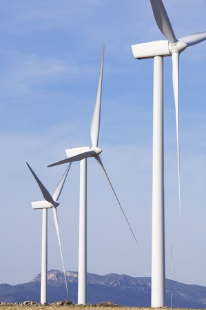 group of modern windmills and hills in the horizon Stock Photo - 6995030