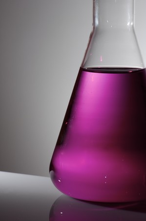 scientifical: foreground of a flask with pink liquid Stock Photo