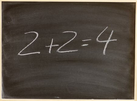 correct addition on a blackboard Stock Photo - 7226588
