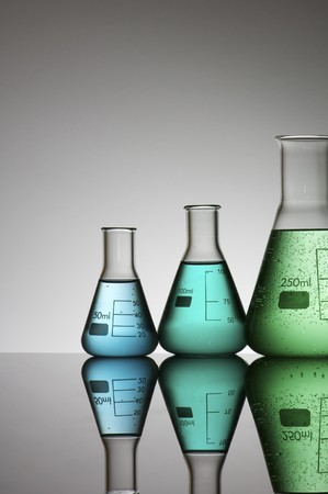 group of three conical flasks containing liquid Stock Photo - 7226419