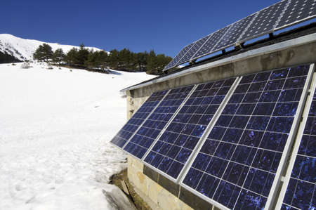 photovoltaic panel: photovoltaic panel on the roof of a hut in the Pyrenees