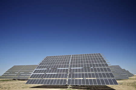 photocell: large solar panels with clear blue sky Stock Photo