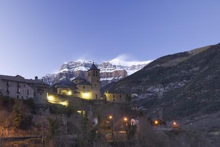 ordesa: night view of Torla, near  Ordesa and Monte Perdido National Park, Pyrenees, Huesca, Aragon, Spain