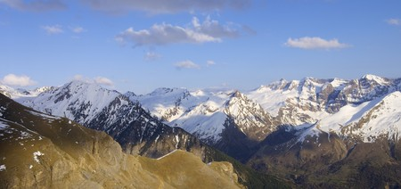 sunset view of the northern slopes of Tendenera Mountains in the Valley of Tena, Pyrenees, Huesca, Aragon, Spain photo