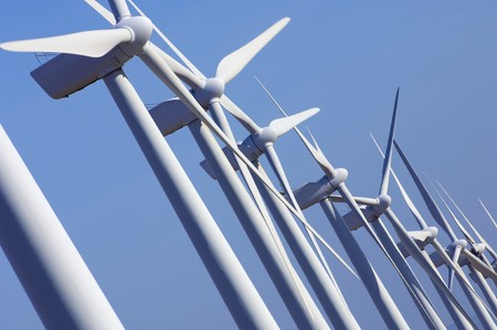 wind energy: group aligned modern windmills for renewable electric energy production