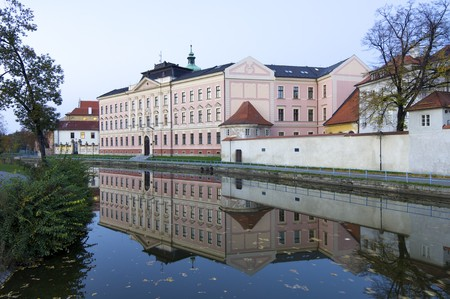 ceske: View at dusk of a historic building in the old town of Ceske Budejovice, Czech Republic