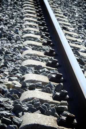 forefront: forefront of the sleepers on the route of a railway Stock Photo