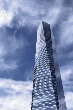 futuristic view of a skyscraper in the city of Madrid, Spain