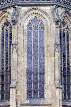 huge picture window in St. Vitus Cathedral, Prague, Czech Republic photo