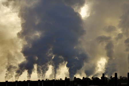 view of the smoke produced by a polluting industry photo