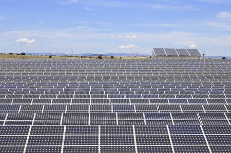 electric generating plant: detail of a photovoltaic panels for electricity production