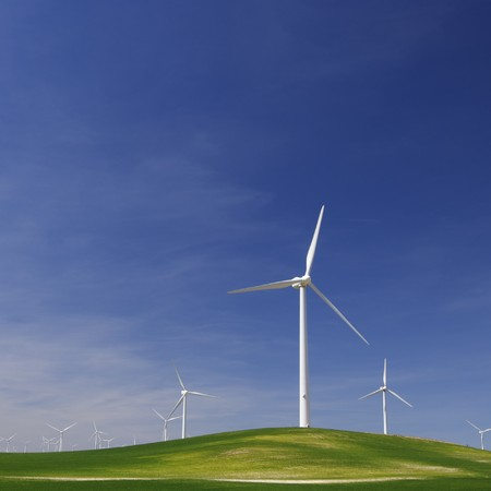 group of windmills in an idyllic meadow Stock Photo - 8159853