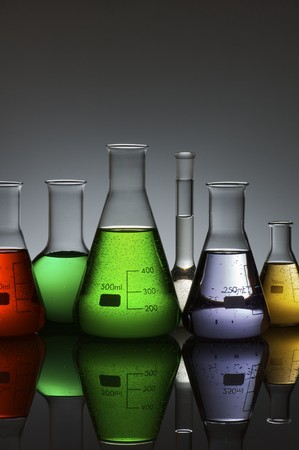 group of laboratory flasks containing liquid color Stock Photo - 8257047