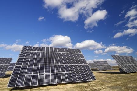 group of solar panels for production of renewable electrical energy Stock Photo - 8385188