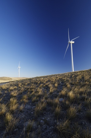 modern windmills for electricity production and grassland Stock Photo - 8444728