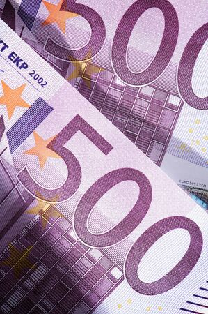 close-up of two five hundred euro banknotes photo