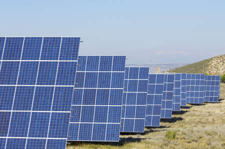 Panoramic view of a solar field to power production in Mediana de Aragon, Saragossa, Aragon, Spain photo
