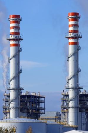smokestacks: smokestacks of a power plant for electric energy production in Escatron, Saragossa, Aragon, Spain