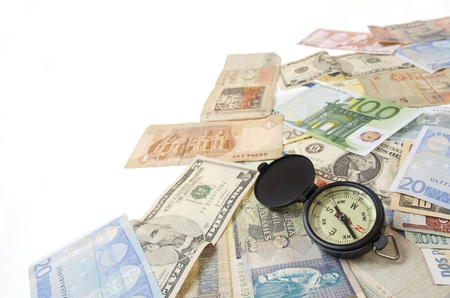 compass and  banknotes of different countries Stock Photo - 8731454