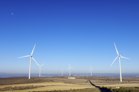group of windmills for electric power generation alternative photo