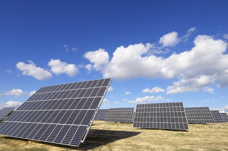 group of solar panels for production of renewable electrical energy in Saragossa province, Aragon, Spain Stock Photo - 8731478