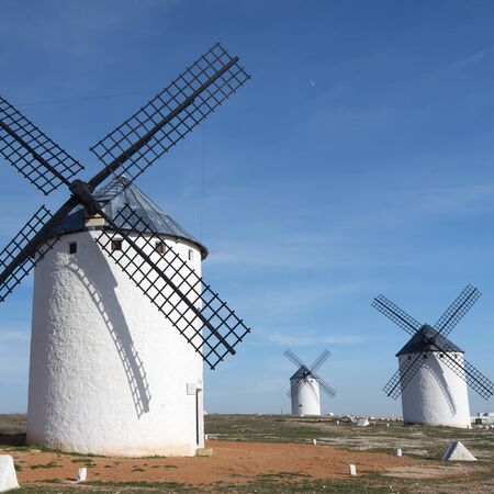 group of  traditional windmills in Campo de Criptana, Ciudad Real, Castilla La Mancha, Spain photo