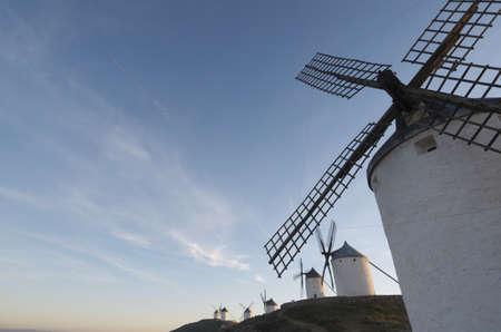 sunset at  the windmills of Consuegra, Toledo, Castilla La Mancha, Spain photo