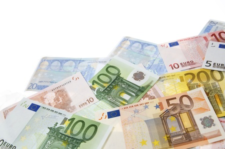 group of  European banknotes with white background photo