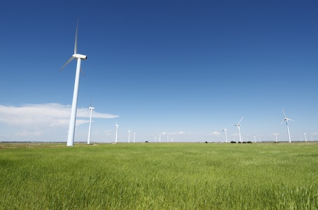 group windmills  for renewable electric energy production Stock Photo - 9662103