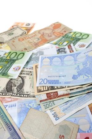 letra de cambio: Grupo billetes de diferentes pa�ses del mundo
