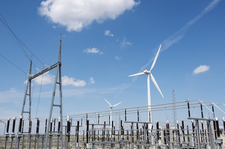 transformer: windmills for  electric power production and  electrical substation Stock Photo