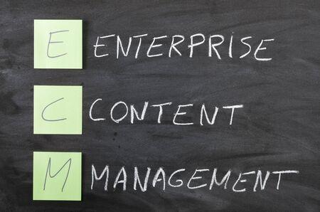 ecm: ecm handwritten  diagram close up on a blackboard