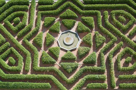 castilla: overhead view  of a formal garden in the Alcazar of Segovia, Castilla Leon, Spain
