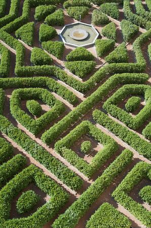 overhead view of a formal garden in the Alcazar of Segovia, Castilla Leon, Spain