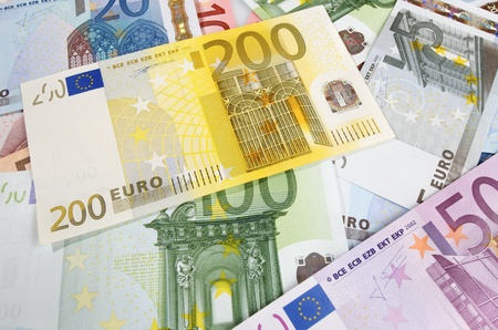 view of group of  European banknotes photo