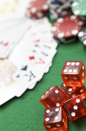 dices, cards and casino chips on a green baize Stock Photo - 10387682